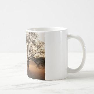 2 TREES SEPIA GOLD ORANGE COFFEE MUG