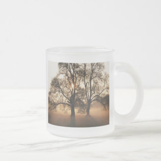 2 TREES SEPIA GOLD ORANGE FROSTED GLASS COFFEE MUG
