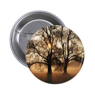 2 TREES SEPIA GOLD ORANGE PINBACK BUTTON