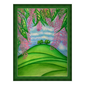 2 Trees & the Macadamia Flowers Painting Poster