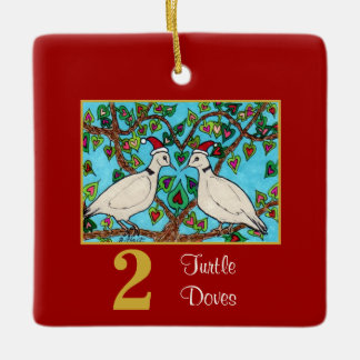 2 Turtle Doves Cute Birds & Typography Love Ceramic Ornament