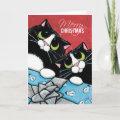 2 Tuxedo Cats and a Xmas Present Christmas Card