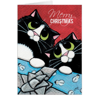 2 Tuxedo Cats and a Xmas Present Christmas Card