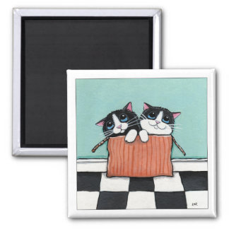 2 Tuxedo Cats in a Box | Cat Art Magnet