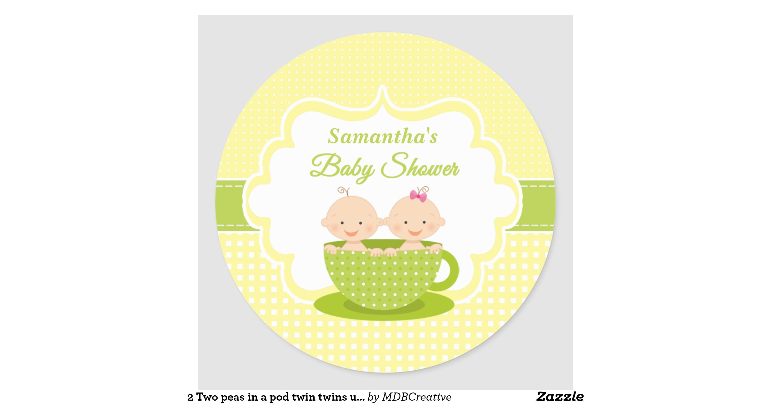 two peas in a pod twin twins unisex baby shower classic round