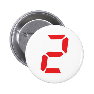 2 two red alarm clock digital pinback button