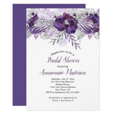 Wedding Themed #2 Ultra Violet Lavender Gray Floral Bridal Shower Card