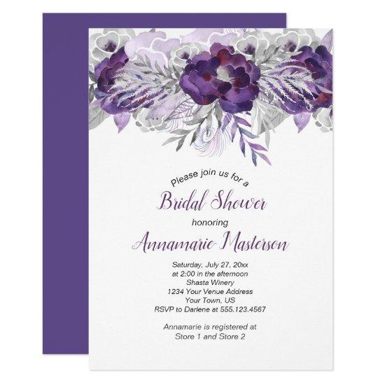 #2 Ultra Violet Lavender Gray Floral Bridal Shower Invitation