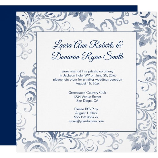 #2 Vintage Dark Blue Damask Overlay Reception Only Invitation