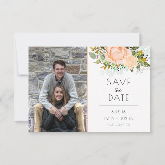 #2 Watercolor Peach Roses Photo Save The Date |
