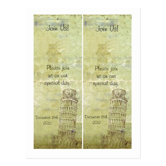 2 Wedding in Pisa Save the Date Bookmarks Postcard