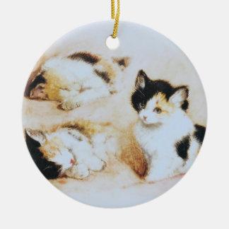 2 where the kitten wakes up ceramic ornament