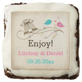 "2"" Whimsical Birds in Love Personalized Brownies Brownie"