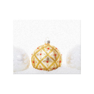 2 white and 1 golden Christmas baubles Stretched Canvas Print