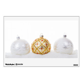 2 white and 1 golden Christmas baubles Room Stickers