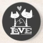2 White Cats in Love (b&w) Sandstone Coaster