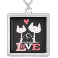 2 Cats in Love Pendant necklace