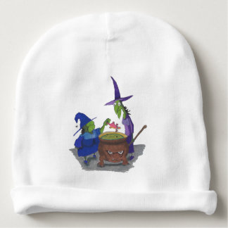 2 Witches brewing up potion in Cauldron Halloween Baby Beanie