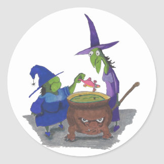 2 Witches brewing up potion in Cauldron Halloween Classic Round Sticker