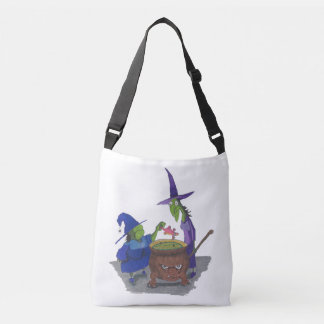 2 Witches brewing up potion in Cauldron Halloween Crossbody Bag