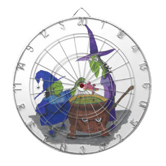 2 Witches brewing up potion in Cauldron Halloween Dart Boards