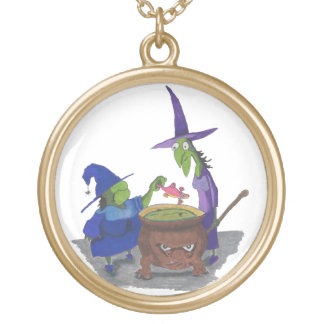 2 Witches brewing up potion in Cauldron Halloween Gold Plated Necklace