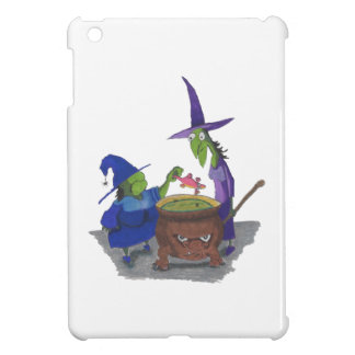 2 Witches brewing up potion in Cauldron Halloween iPad Mini Cover