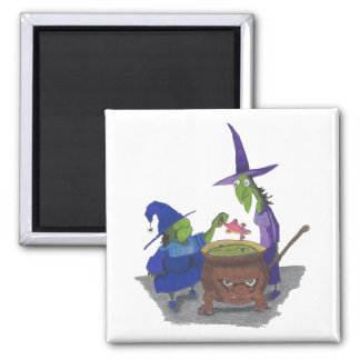2 Witches brewing up potion in Cauldron Halloween Magnet