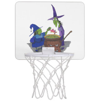 2 Witches brewing up potion in Cauldron Halloween Mini Basketball Hoops
