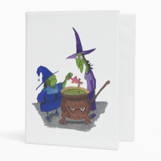 2 Witches brewing up potion in Cauldron Halloween Mini Binder