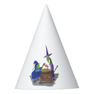 2 Witches brewing up potion in Cauldron Halloween Party Hat