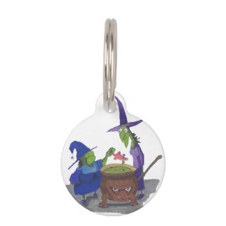 2 Witches brewing up potion in Cauldron Halloween Pet Name Tag