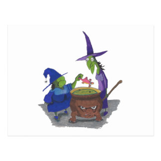 2 Witches brewing up potion in Cauldron Halloween Postcard