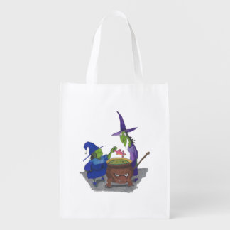 2 Witches brewing up potion in Cauldron Halloween Reusable Grocery Bags