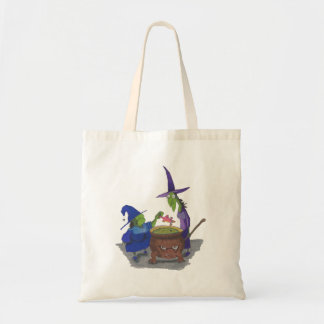 2 Witches brewing up potion in Cauldron Halloween Tote Bag