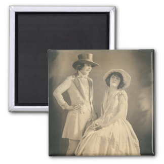2 women couple in drag 2 inch square magnet