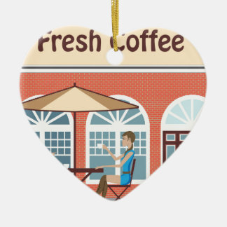 2 Women drinking coffee at a cafe outside Ceramic Ornament