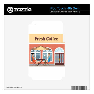 2 Women drinking coffee at a cafe outside iPod Touch 4G Decals