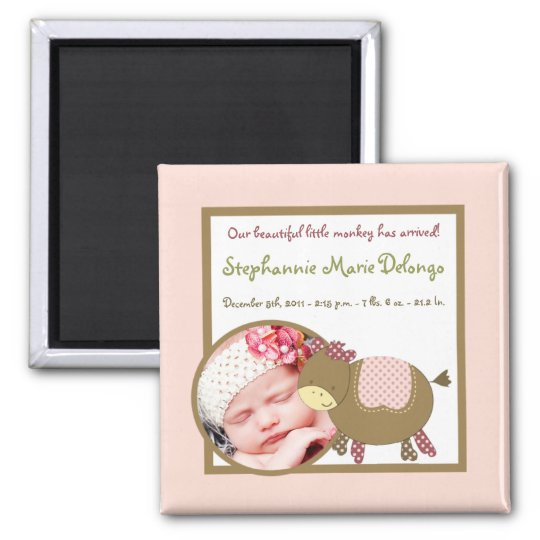 """2""""x2"""" Announcement Magnet Abby's Farm Pink Girly"""