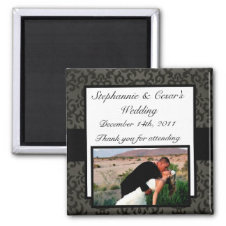 """2""""x2"""" Announcement Magnet Black and Gray Damask"""