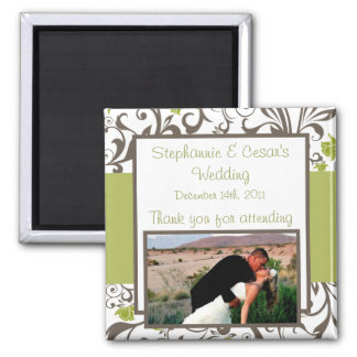 """2""""x2"""" Announcement Magnet Green Floral with Branch"""