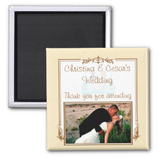 "2""x2"" Announcement Magnet Just got Married Couple"