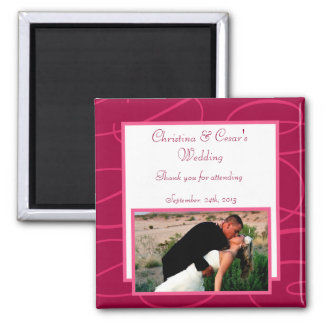 """2""""x2"""" Announcement Magnet Raspberry Pink Loops/Swi"""