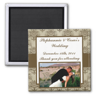 """2""""x2"""" Announcement Magnet Tanish Brown Damask"""