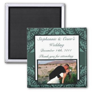 """2""""x2"""" Announcement Magnet Teal Ornate Damask"""