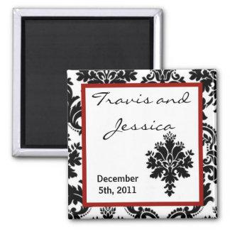 """2""""x2"""" Favor Magnet Black Red Damask Lace Print"""