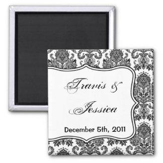 "2""x2"" Favor Magnet Black White Damask Lace Print"