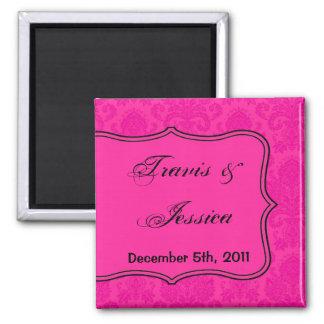 "2""x2"" Favor Magnet Hot Pink Blac Damask Lace Print"