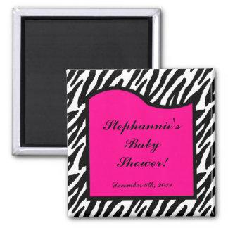"2""x2"" Magnet Favor Hot Pink Zebra Animal Print"