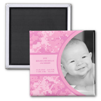 "2""x2"" Pink ARMY ACU Camo Birth Announcement Magnet"